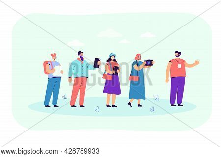 Excursion Group Following Guide With Gadgets And Map. Flat Vector Illustration.  Happy Tourists Trav