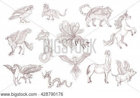 Hand Drawn Sketch Of Fantastic Beasts From Ancient Myths. Chinese Dragon, Pegasus, Unicorn, Griffin,