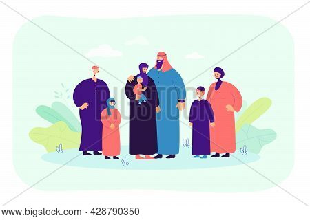 Happy Cartoon Muslim Family. Flat Vector Illustration. Husband, Wife, Father, Mother, Kids Wearing A