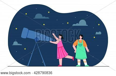 Happy Girls Looking At Stars Through Telescope. Female People Studying Astronomy Flat Vector Illustr