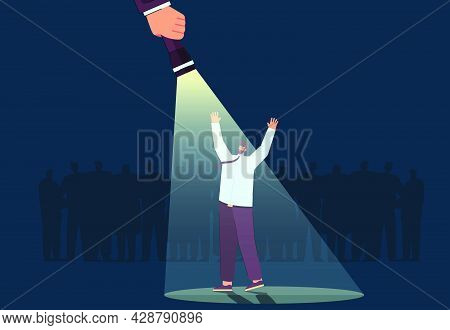 Happy Man Standing Under Spotlight. Businessman Standing Out From Crowd, Chosen Candidate Flat Vecto