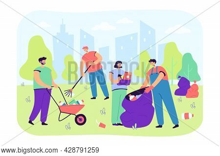 Happy Volunteers Cleaning City Park From Garbage Isolated Flat Vector Illustration. Cartoon People C