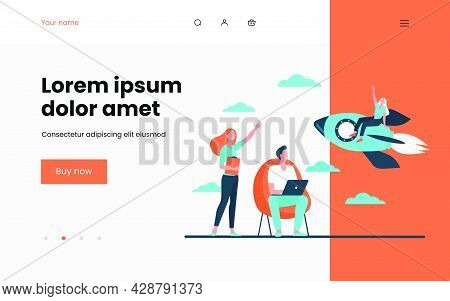 Happy Woman Sitting On Rocket And Waving Colleagues. Fire, Start, Laptop Flat Vector Illustration. P
