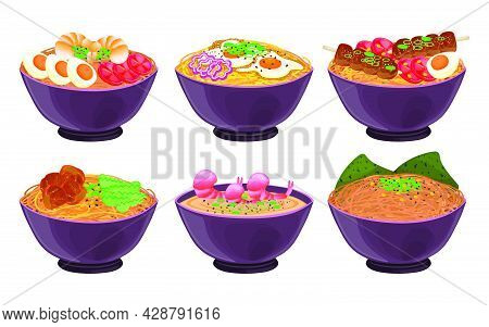 Japanese Noodles In Bowls Vector Illustrations Set. Collection Of Asian Food, Ramen, Udon, Soba, Ten