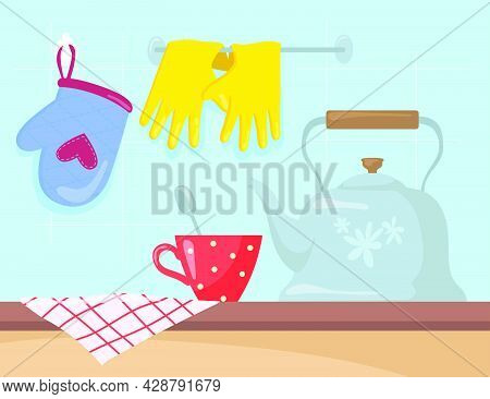 Kitchen Utensils On Counter Cartoon Vector Illustration. Kettle, Cup With Teaspoon, Tablecloth, Oven