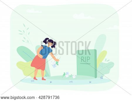 Little Girl Putting Flowers On Grave. Sad Orphan Character In Cemetery, Gravestone Flat Vector Illus