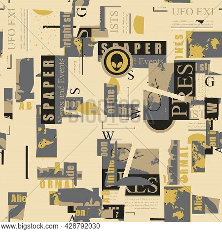 Abstract Seamless Pattern With Chaotic Layering Of Newspaper And Magazine Clippings On An Alien Them