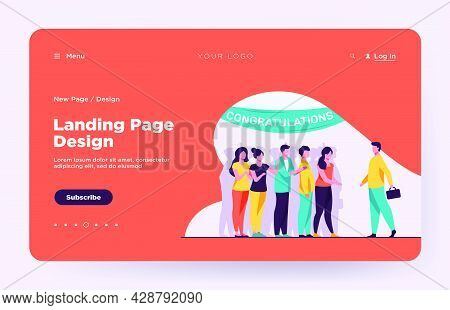 Man Going To Surprise Party. Crowd Of People, Congratulation Banner Flat Vector Illustration. Festiv