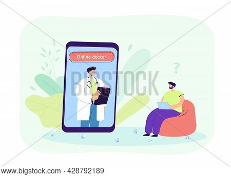 Man Sitting At Home And Having Online Consultation With Doctor. Patient Having Video Call With Physi