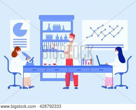 Medical Students In Laboratory Flat Vector Illustration. Group Of Cartoon Scientists Making Research