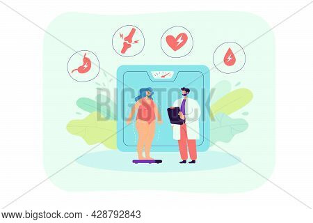 Overweight Woman Discovering Health Problems Due To Obesity. Flat Vector Illustration. Tiny Fat Woma