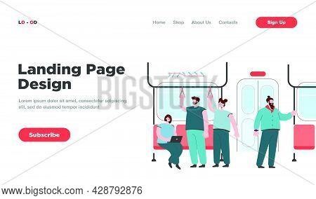 Passengers In Subway Or Underground Car Interior. Flat Vector Illustration. Cartoon People Riding Su