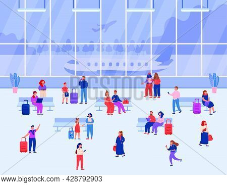 Passengers Waiting For Flight In Airport. Male And Female Characters Sitting, Talking, Working, Walk
