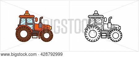 Tractor Coloring Page For Kids. Tractor Side View