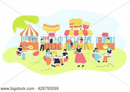 People Eating At Food Court. Flat Vector Illustration. Cartoon Characters Spending Time With Friends