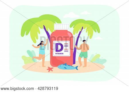 People On Beach With Huge Vitamin D Supplement. Sun And Nutrients For Good Skin Flat Vector Illustra