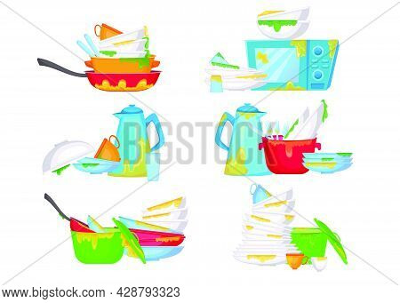 Piles Of Dirty Dishes Vector Illustrations Set. Stacks Of Plates And Cups With Pieces Of Food, Greas