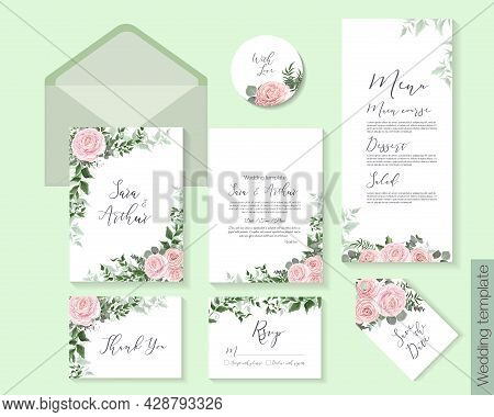 Elegant Template For A Wedding Invitation. Floral Design, Pink Roses, Green Branches, Plants And Lea