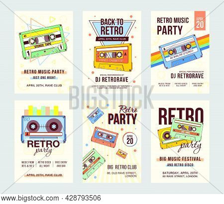 Promotional Invitation Designs With Vintage Audiocassettes. Creative Banner Invitations With Compact