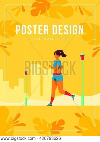 Runner Training Outdoors. Sporty Girl Running Down City Park Pathway In Morning. Vector Illustration