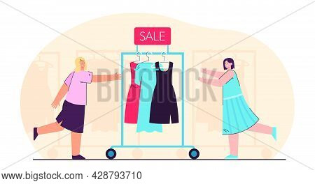 Salesgirls Pushing Clothes Rail With Dresses. Sale Of Gowns Flat Vector Illustration. Clothes Racks