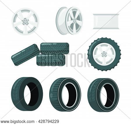 Set Of Car Tires And Wheels. Cartoon Vector Illustration. Car Wheel And Discs With Different Tread P