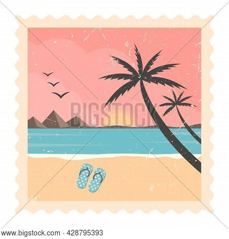 Beach Coastline And Sunset - Vector Tropical Palm Trees With Colorful Landscape Background