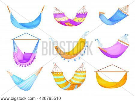 Stylish Collection Of Hammocks Flat Pictures For Web Design. Cartoon Beach Swinging Hammocks For Res