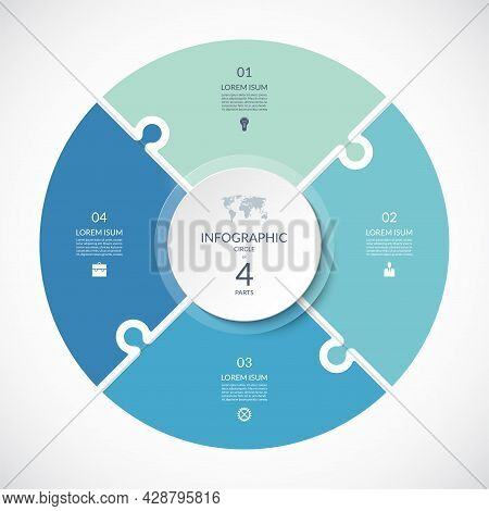 Vector Infographic Puzzle Circular Template. Cycle Diagram With 4 Parts, Options. Can Be Used For Ch