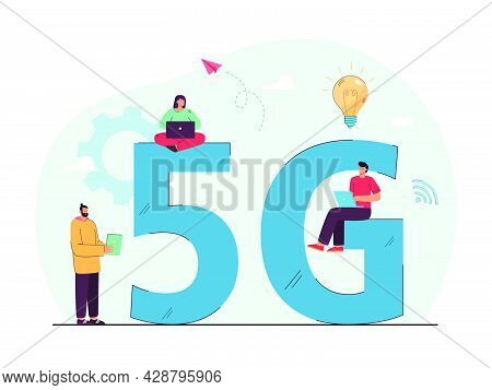 Tiny People Using Superfast Internet. Men And Women With Laptops And Tablets Using 5g Network, Commu