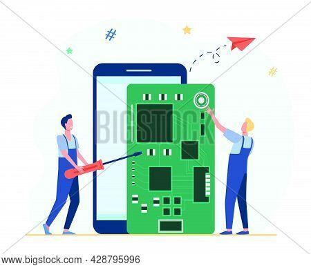 Tiny Technicians Repairing Smartphone. Screwdriver, Phone, Board Flat Vector Illustration. Digital T