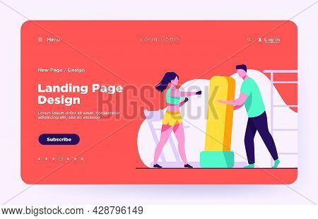 Trainer Holding Boxing Bag For Woman. Kickboxing, Gym, Athlete Flat Vector Illustration. Sport And T