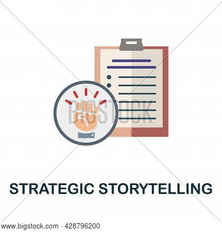 Strategic Storytelling Flat Icon. Simple Sign From Crowdfunding Collection. Creative Strategic Story