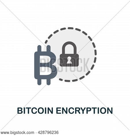 Bitcoin Encryption Flat Icon. Colored Sign From Cryptocurrency Collection. Creative Bitcoin Encrypti