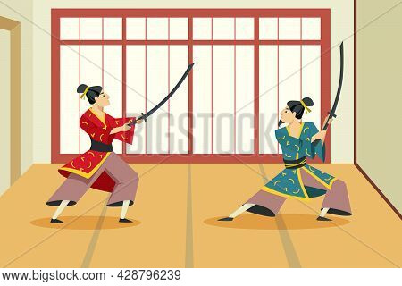 Two Cartoon Samurai Characters Fighting Each Other With Swords. Flat Vector Illustration. Asian Warr