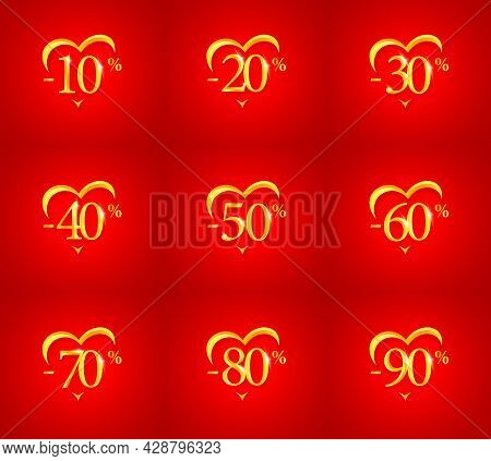 Sale, Discount And Percent Off For Valentines Day And Wedding Day, Greeting Card Poster Or Banner. G