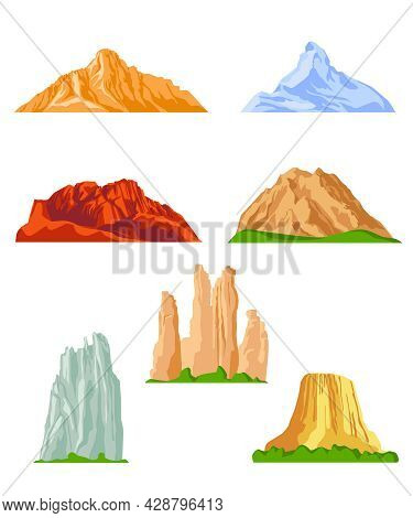 Various Mountains Flat Pictures Collection. Cartoon Rocky Hills, Rocks And Mountain Tops Isolated Ve