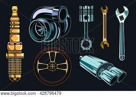 Vintage Car Repair Elements Set. Monochrome Parts And Tools, Retro Chrome Engine, Wrenches Concept.
