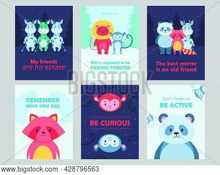 Wild Animal Posters Set Cartoon Vector Illustration. Cute Beasts For Kids With Inspirational Quotes.