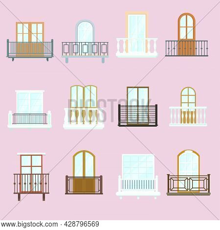 Windows And Balconies Set. Classic And Old Vintage Architecture Balconies With Fence Railings Decor