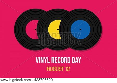 National Vinyl Record Day Vector Cartoon Greeting Card, Illustration With Three Vinyl Records On Pin