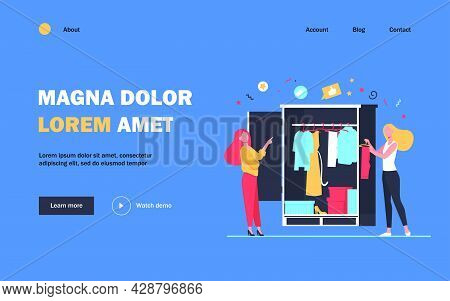 Woman Selecting The Clothes For Female Friend. Wardrobe, Choosing. Flat Vector Illustration. Stylist