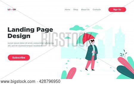 Woman Walking In Rain With Umbrella Flat Vector Illustration. Girl Enjoying Autumn Season And Rainy