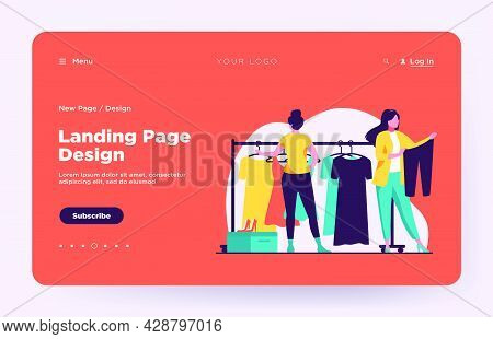 Women Choosing Clothes In Apparel Store. Dress, Shoes, Pants Flat Vector Illustration. Fashion And S
