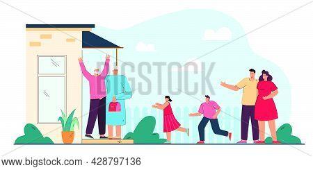 Young Parents Bringing Children To Grandparents. Flat Vector Illustration. Happy Grandparents Standi