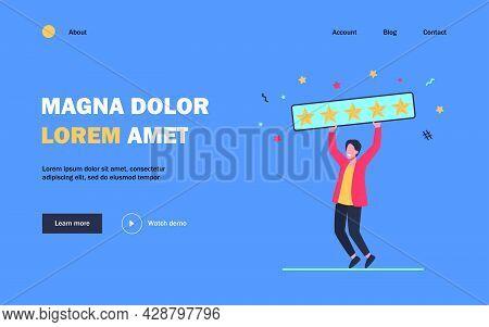 Happy Man Holding Five Golden Stars. Customer, Review, Social Media Flat Vector Illustration. Assess