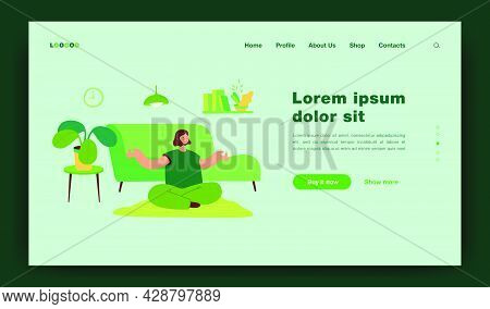 Peaceful Woman Doing Yoga At Home Flat Vector Illustration. Cartoon Calm Female Character Sitting In