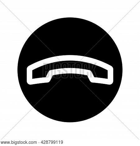 Phone Calls Icon. Decline Button. Black Color Round Button With Handset Silhouette. Internet Button