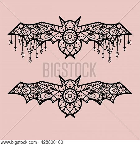 Halloween Bats Decoration Template. Lace Ornament Bat With Pendants And Hanging Decor.