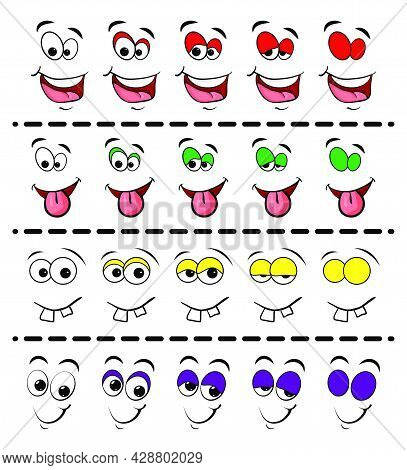 Blink Eye Animation Steps. Cartoon  Facial Comic Stages Illustration Isolated On White Background.